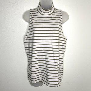 Victoria's Secret Mock Neck Sleeveless Top Striped